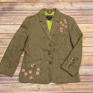 American Eagle Tweed Blazer with floral accents, M